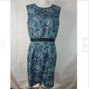 Ann Taylor Loft Dress Sz 10 Midi Blue Black Zipper